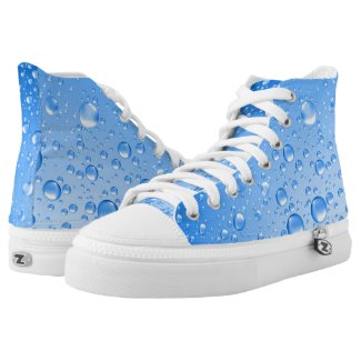 Metallic Blue Water Droplets Printed Shoes