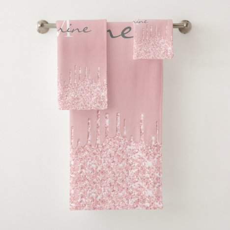 Metallic Blush Pink Dripping Glitter Monogrammed Bath Towel Set