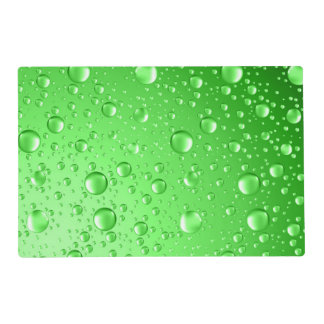 Metallic Bright Green Abstract Rain Drops Placemat
