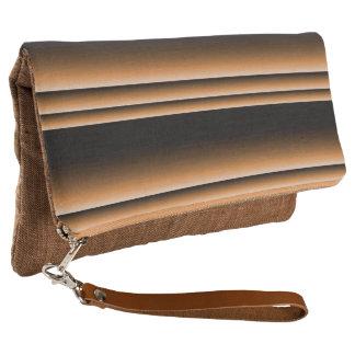 Metallic Bronze Copper Brown Ombre Stripes Clutch