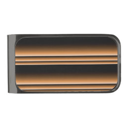 Metallic Bronze Copper Brown Ombre Stripes Gunmetal Finish Money Clip