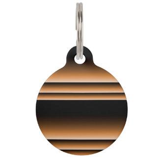 Metallic Bronze Copper Brown Ombre Stripes Pet Name Tag