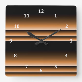 Metallic Bronze Copper Brown Ombre Stripes Square Wall Clock