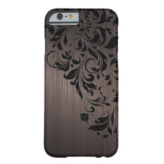 Metallic Brown Brushed Aluminum & Black Lace Barely There iPhone 6 Case
