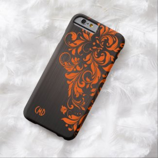 Metallic Brown Brushed Aluminum & Orange Lace Barely There iPhone 6 Case
