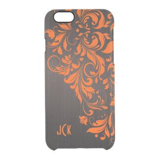 Metallic Brown Brushed Aluminum & Orange Lace Clear iPhone 6/6S Case