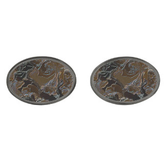 Metallic Brown Camouflage Gunmetal Finish Cufflinks