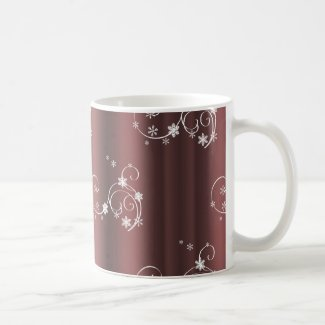 Metallic Brown White Swirls Christmas Coffee Mug