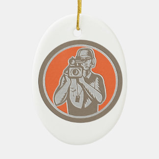 Metallic Cameraman Holding Movie Video Camera Circ Ceramic Ornament