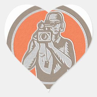 Metallic Cameraman Holding Movie Video Camera Circ Heart Sticker