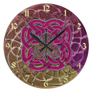 Metallic Celtic Knots Burgundy Gold Velvet Clock