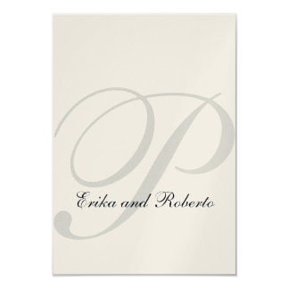 Metallic Champagne Paper Monogram Wedding RSVP Card