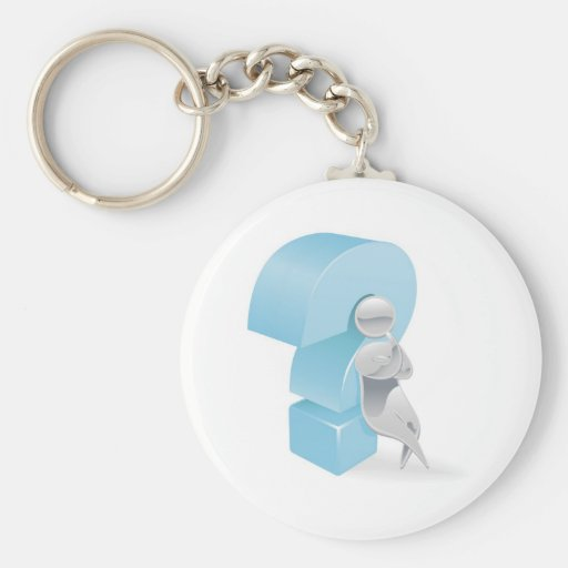 Metallic character question mark concept keychain