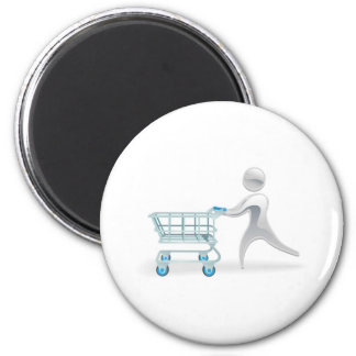 Metallic character shopping cart trolly concept magnet