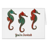 Metallic Christmas Seahorse Trio Cards