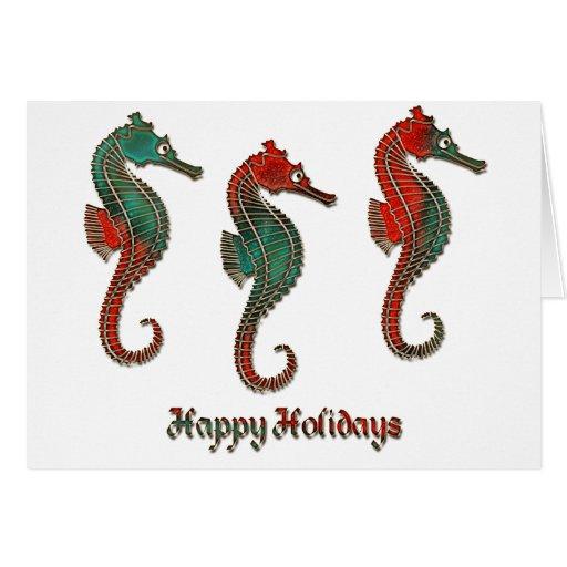 Metallic Christmas Seahorse Trio Greeting Card