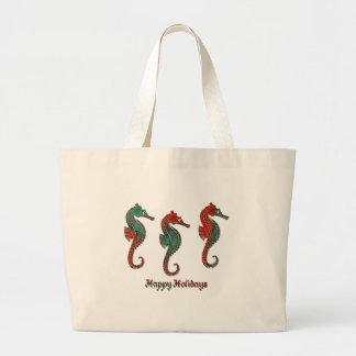 Metallic Christmas Seahorse Trio Jumbo Tote Bag