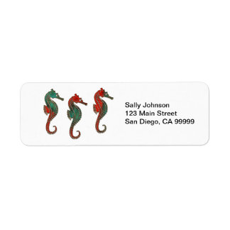 Metallic Christmas Seahorse Trio Return Address Label