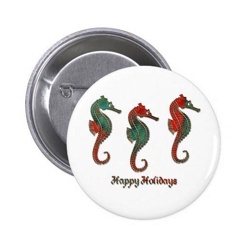Metallic Christmas Seahorse Trio Pinback Button