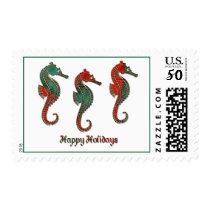 Metallic Christmas Seahorse Trio Postage
