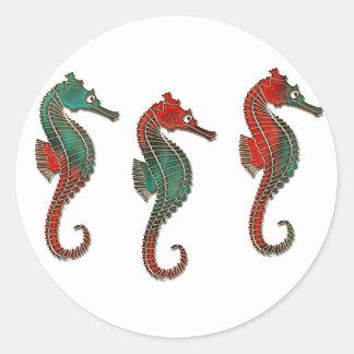 Metallic Christmas Seahorse Trio Sticker