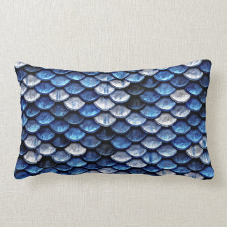 Metallic Cobalt Blue Fish Scales Pattern Lumbar Pillow