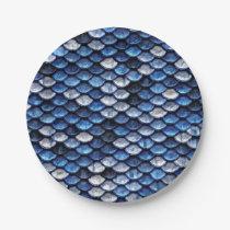 Metallic Cobalt Blue Fish Scales Pattern Paper Plate