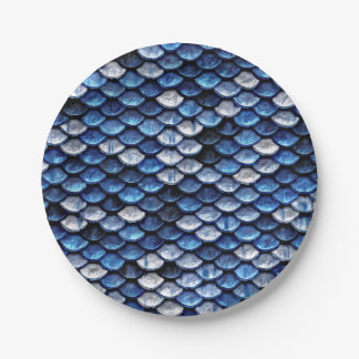 Metallic Cobalt Blue Fish Scales Pattern Paper Plate