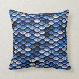 Metallic Cobalt Blue Fish Scales Pattern Throw Pillow