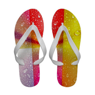 Metallic collage squares with water drops colors flip flops
