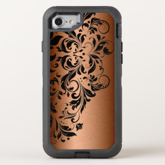 Metallic Copper & Black Lace OtterBox Defender iPhone 7 Case