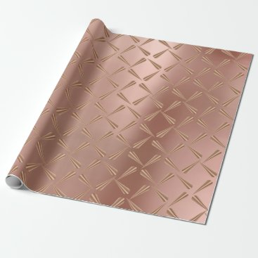 McTiffany Tiffany Aqua Metallic Copper Blush Tiffany 3D Rose Gold Spikes Wrapping Paper
