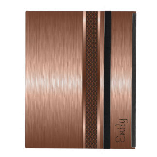 Metallic Copper Brown Brushed Aluminum Look iPad Cases
