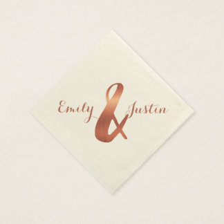 Metallic copper-look ampersand wedding design napkin