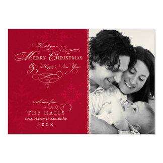 "Metallic Crimson Red Snowflake Christmas Photo 5"" X 7"" Invitation Card"