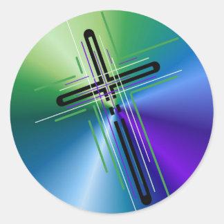 Metallic Crucifix. Classic Round Sticker