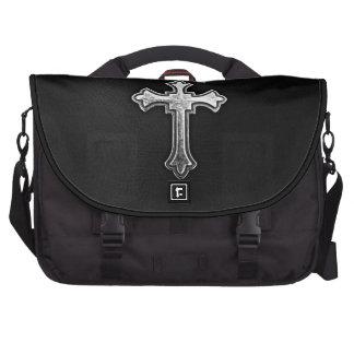 Metallic Crucifix on Black Leather Laptop Computer Bag