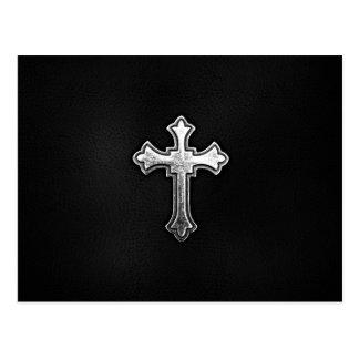 Metallic Crucifix on Black Leather Postcard