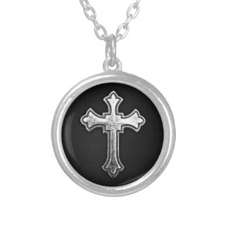 Metallic Crucifix on Black Leather Silver Plated Necklace
