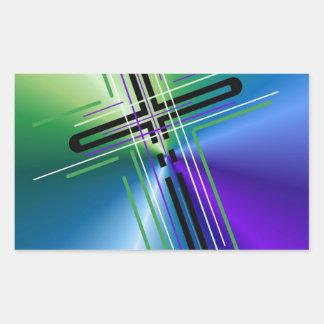 Metallic Crucifix. Rectangular Sticker
