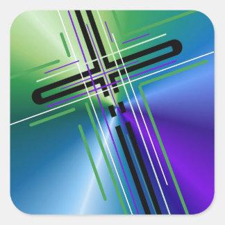 Metallic Crucifix. Square Sticker