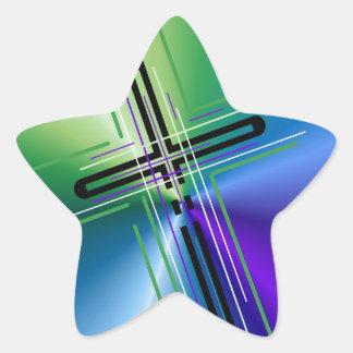 Metallic Crucifix. Star Sticker