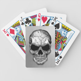 Metallic Crystal Skull on Stainless Steel Effect Bicycle Playing Cards