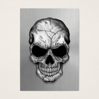 Metallic Crystal Skull on Stainless Steel Effect Business Card