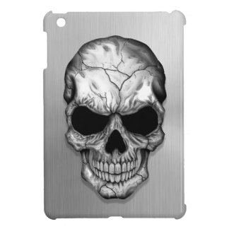Metallic Crystal Skull on Stainless Steel Effect Case For The iPad Mini