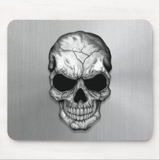 Metallic Crystal Skull on Stainless Steel Effect Mouse Pad