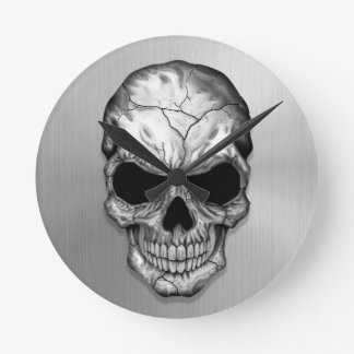 Metallic Crystal Skull on Stainless Steel Effect Round Clock