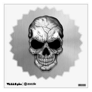 Metallic Crystal Skull on Stainless Steel Effect Wall Decal