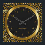 """Metallic Dark Gold and Black Leopard Print Square Wall Clock<br><div class=""""desc"""">Wall Clocks in a metallic rich dark gold leopard animal print with a black center and gold numbers. Makes a great housewarming gift or beautiful accent for your home, office, study, bedroom, a college dorm room or any where in the home or business. 100% Customizable. If you need further customization,...</div>"""