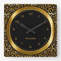 Metallic Dark Gold and Black Leopard Print Square Wall Clock